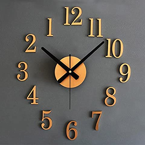 Wall Clocks,Clode® Modern Large 3D DIY Metallic Wall Clock Sticker Art Design Home Office Living Room Kitchen Removable Decoration- (Battery NOT Included) (Gold)