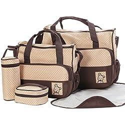 Finerolls Set 5 kits Bolsa de Mama Para Bebe Biberon Bolso/Bolsa/Bolsillo Maternal Bebé para carro carrito biberón colchoneta comida pañal con Gran Capacidad de 8 Colores