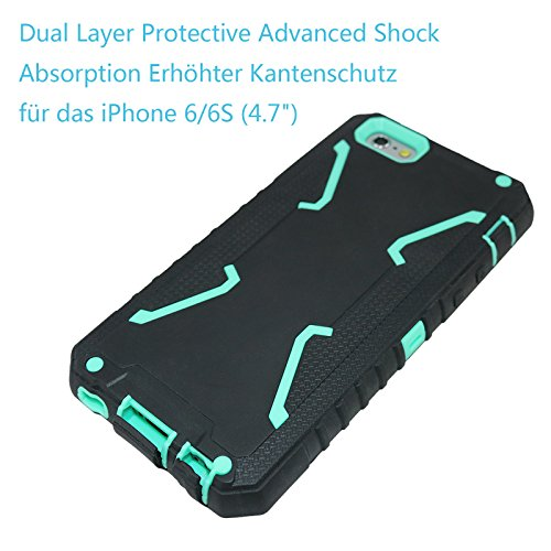 "iPhone 6s Coque, Allbuymall iPhone 6/6s Case Coque Housse Bumper Cover Armure Robuste Ultimate protection et design robuste avec Premium Housse pour Apple iPhone 6 6s 4.7""-Gris+Turquoise Noir+Turquoise"