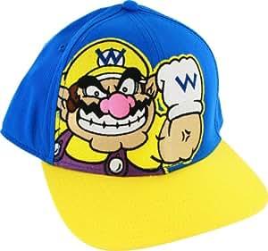 Nintendo Super Mario Bros Wario Blue Adjustable Flatbill Baseball Chapeau Hat