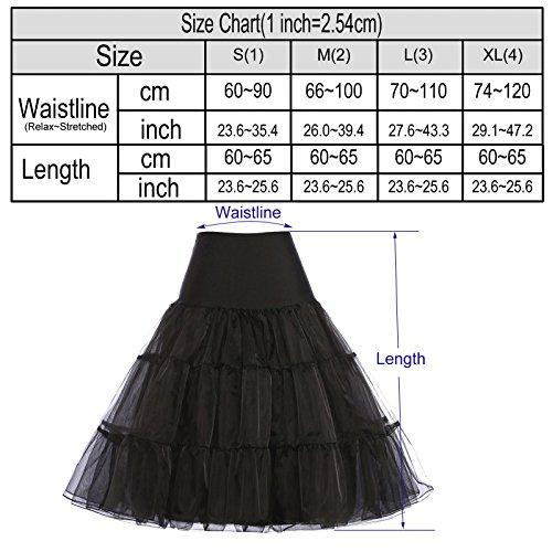 Damen 50s vintage petticoat rockabilly schwarz festliche röcke unterrock kurze reifröcke S -