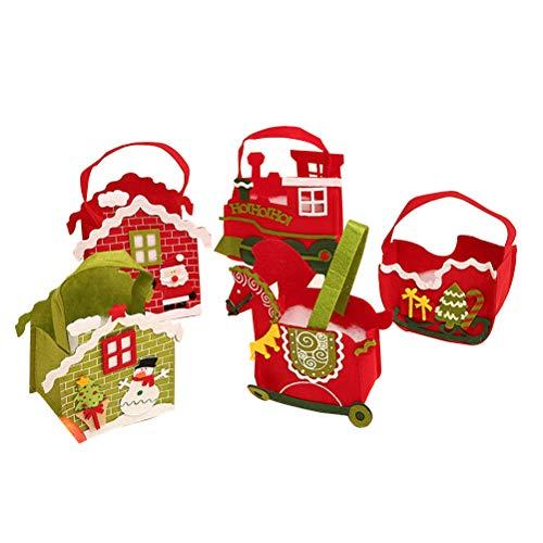 Schlitten Tasche (5 stücke bunte weihnachten apple paket tasche weihnachtsmann schneemann muster süßigkeiten tasche handtasche home party dekoration weihnachten liefert (rotes haus, grünes haus, wagen, schlitten, zug))