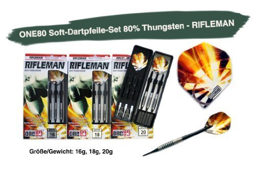 ONE80 Soft Dart Dartpfeile 80% Thungsten 3er Pack - RIFLEMAN
