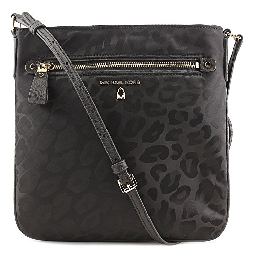 Michael Kors 32F7GO2C3J Kelsey Damen Nylon Leopard-Print Animal Jacquard Large Cross-Bodybag Umhängetasche Shopping-Bag (black) Michael Kors Animal Print