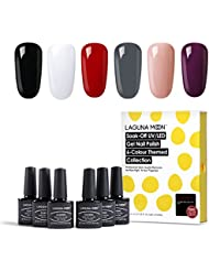 Lagunamoon Lot Vernis Semi Permanents 6 Couleurs UV LED Soak off Nail Art Kit de Manucure Vernis a ongle, 8ML