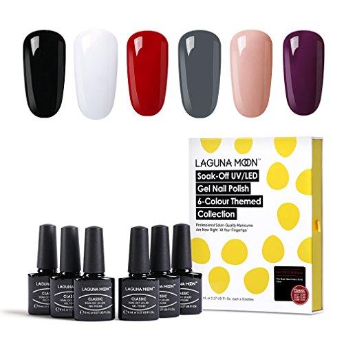 Lagunamoon Smalto per Unghie, Gel Unghie UV LED, 6pz Smalti per Unghie Gel Colori, Regalo Kit Manicure Smalto per Unghie Semipermanente - 008