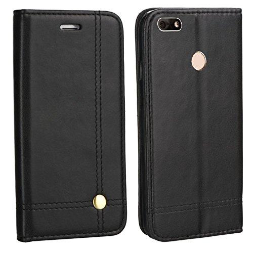 MOELECTRONIX Edle Buch Klapp Tasche SCHWARZ Flip Book Case Schutz Hülle Etui für Huawei Y6 Pro 2017 Dual SIM SLA-L22