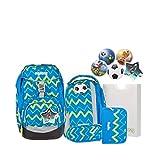 Ergobag Schulrucksack-Set Pack 6-tlg LiBäro 9B7 blau grün zickzack