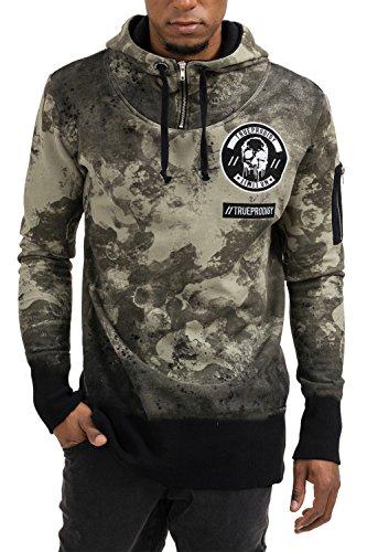 erren Marken Sweatshirt mit Aufdruck, Oberteil cool und stylisch mit Kapuze (Langarm & Slim Fit), Hoodie für Männer Bedruckt Farbe: Khaki 2573111-0629-S ()