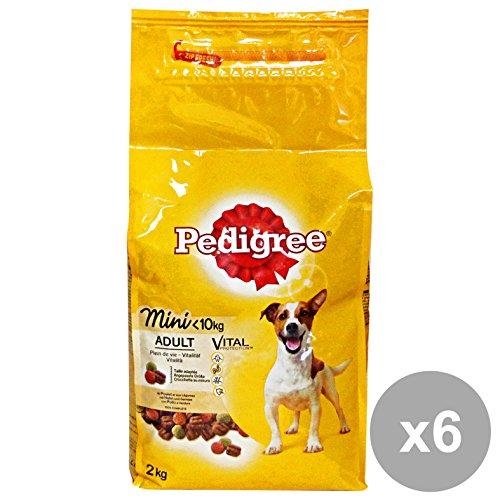 Set 6 PEDIGREE 2 KG.Secco Mini Pollo-Verdure Cibo per cani
