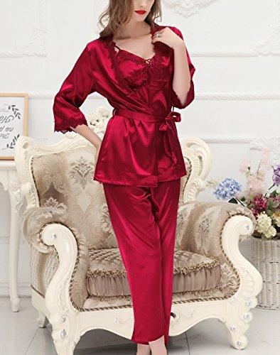 446090538c Aivtalk Damen 3CPS Pyjama Set Schlafanzug aus Kunstseide lang Hose +  Nachthemd mit V-Ausschnitt ...