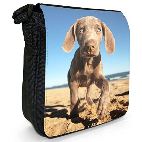 Weimaraner vorstehhund Grigio fantasma Cane Piccolo Nero Tela Borsa a tracolla, taglia S Weimaraner On Sandy Beach