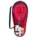 WILSON Roger Federer, Starter Set da Tennis Unisex Bambini, Rosso/Nero, 25