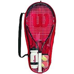 Idea Regalo - WILSON Roger Federer, Starter Set da Tennis Unisex Bambini, Rosso/Nero, 25