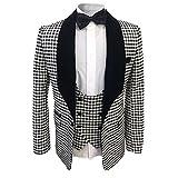 Allthemen Herren 3 Teilig Schalkragen Anzug Party Sakko Hochzeit Smoking Schwarz&Weiß X-Large