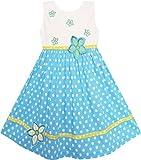 Sunboree Mädchen Kleid Weiß Punkt Blau Bestickte Blume Gr.104