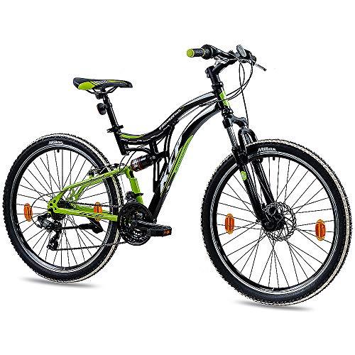 KCP 26 Zoll Mountainbike Fahrrad - MTB Fairbanks schwarz grün- Vollfederung Jugendrad Mountain Bike Unisex für Jungen Herren und Damen, MTB Fully mit 21 Gang Shimano Schaltung