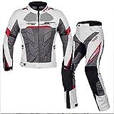 HXA Motorradanzug für Männer, Herrenmode Motorrad Zweiteiler mit Rüstungsschutz,White,L
