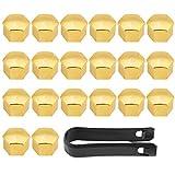 Qiilu 20 Pz 17mm Car Veicolo Ruota dado Lug Coprimozzo Vite Bullone Vite Coperchio a vite Protezione Tappo Protettivo Universale Fitment per la Maggior Parte Dei Veicoli (oro)