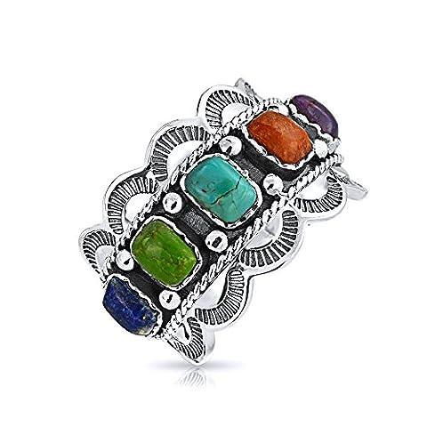 Bling Jewelry Style du sud-ouest corail turquoise Lapis festonnées 925 Bague en argent