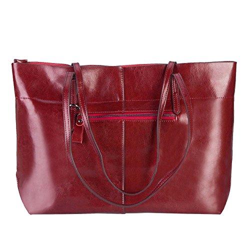 Mufly Handbag Donna in Pelle di Vitello Borsa Cartella Lustra Portadocumenti Impermeabile Casual Pratica Purpureo Scuro