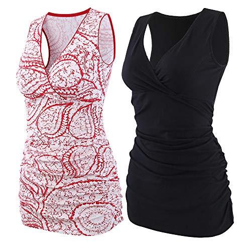 ZUMIY Still-Shirt/Umstandstop, Schwangeres Stillen Nursing Schwangerschaft Top Umstandsmode Unterwäsche (M, Black+Red Printing/2-pk) Top