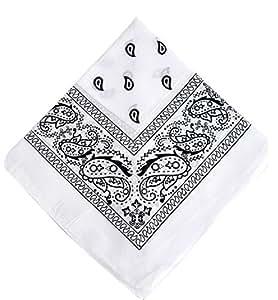 WHITE cotton bandana scarf SQUARE WHITE PAISLEY