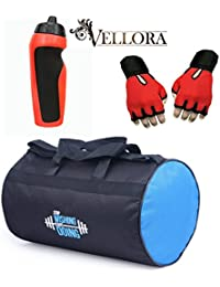 VELLORA Polyester Long Lasting Material, Duffel Gym Bag Blue With Penguin Sport Sipper, Gym Sipper Water Bottle... - B07F2LYK4B