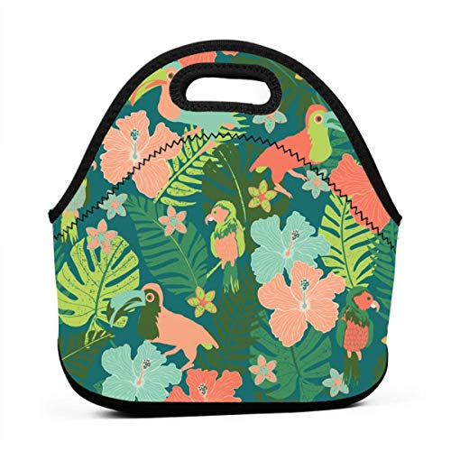 Birds In Tropical Paradise Multifunctional Portable Bento Bag,Lunch Box Bag For School Travel Work Office