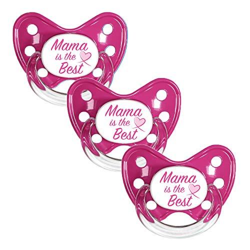 Dentistar® Silikon Schnuller 3er Set - Beruhigungssauger, Nuckel Größe 1 von Geburt an, 0-6 Monate - zahnfreundlich & kiefergerecht | Pink Mama