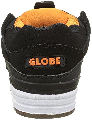 Globe Herren Fusion Sneakers Schwarz (black/white/orange)