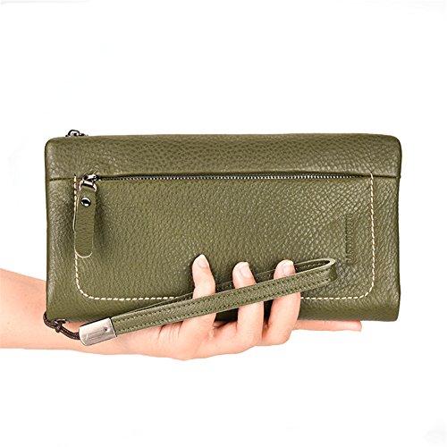 Genda 2Archer Portafogli Lungo Donna Borsa in Pelle Borsa del Cellulare (11cm*2cm*21.5cm) (Giallo) Verde