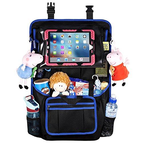 """Auto Rückenlehnenschutz Utensilientaschen Organizer - Große Aufbewahrungstasche für Reisezubehör und Spielzeug mit 12,9"""" Tablet-Halter für Kinder, Rücksitzbezug, Trittmatten (1-PACK)"""