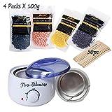 Wachs Haarentfernung Set Yiitay 1 Stück 500ml Elektrischer Wachswärmer + 50 Stück Wachs Applikator Sticks + 4 Stück 100g Wax Beans