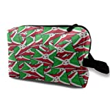 Burundi Flag Wave Collage Toiletry Bag Waterproof Fabric Cosmetic Bags Travel Case For Women's...
