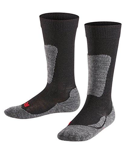 FALKE Kinder Ski Socken Active Ski, Wollgemisch, 1 Paar, Schwarz (Black 3000), Größe: 27-30