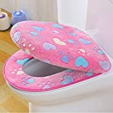 ZGJ AFFE Toilettensitzabdeckung Set WC Sitzbezug Winter Thicker Wärmer Waschbare Toilette Matte Tuch Pads - 1 *Toilet Seat Cover,1* Toilet Lid Cover (Rosa)