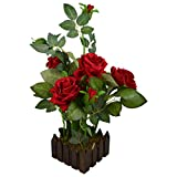 #9: Thefancymart real look artificial Rose Flower plant 5 flower & 5 buds head with Wood Pot