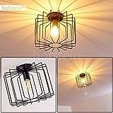 Deckenleuchte Chava, Deckenlampe aus Metall in Schwarz, 1-flammig, E27-Fassung, max. 60 Watt, im Retro/Vintage Design m. Lichteffekt an der Decke durch das Gitter, für LED Leuchtmittel geeignet