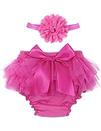YiZYiF Bébé Garçon Fille Nouveau-né Vêtement de Baptême Bloomer Tutu Short  Culotte avec Bandeau 026eba81b73