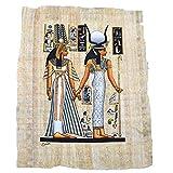 Papyrus Original fabriqué et Peint à la Main en Egypte DE 33 cm x 43 cm Environ, représente l'épouse de Néfertari de Ramsès II avec la déesse de l'amour Isis. B07HR1XGRQ