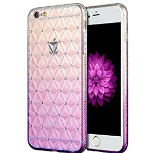 SLectionAccess Crystal Rhinestone TPU Skin Case for iPhone 6S Plus, 6 Plus - Retail Packaging - Purple