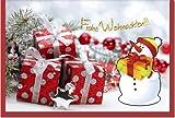 metalum Premium-Weihnachtskarte in tollen Farben mit ausgefallener, sehr filigraner, 2-dimensionaler Papierverzierung in Form eines kleinen Schneemannes - Frohes Fest!