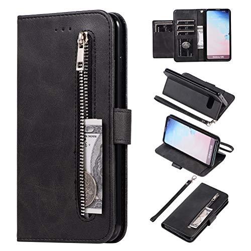 WIWJ Kompatibel mit Samsung Galaxy S10 Hülle PU Lederhülle Reißverschluss Geldbörse mit 5 Kartenfächer Handyhülle Silikon Etui Wallet Magnet Tasche Flip Klapphülle-Schwarz