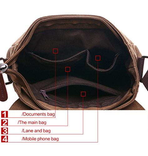 Super moderno vintage messenger bag borsa di tela militare Leisure borsa a tracolla viaggio borsa a tracolla Coffee1