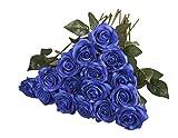 10 Stück Unechte Blumen,Blumen Gefälschte Kunstblumen Rosen Künstliche Deko für Hochzeit, Party, Blumenstrauß und Heimdeko 10Blau
