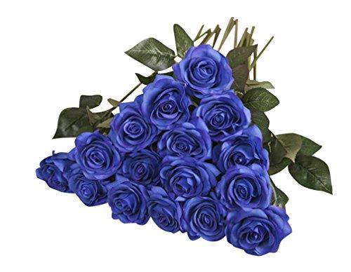 10 Stück Unechte Blumen,Blumen Gefälschte Kunstblumen Rosen Künstliche Deko für Hochzeit, Party, Blumenstrauß und Heimdeko 10Blau -