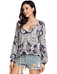 Zeagoo Damen Blumen Drucken Bluse V-Ausschnitt T-Shirt mit BÜNDE Langarm  Oberteil in 01e71a9fe1