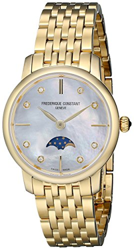Frederique Constant Slim Line Moonphase FC206MPWD1S5B 30mm Diamonds Gold Steel Bracelet & Case Anti-Reflective Sapphire Women's Watch