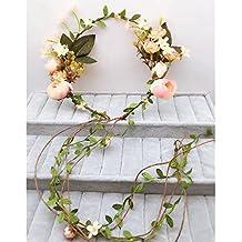 XUE - Chica Fibra de Seda Artificial Flor Garland Accesorios para el cabello Bridal Wedding Lei Flores Coronas al aire libre Adultos o Niños
